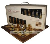 SAC Battle of Hastings Chess Set - hand decorated with folding board in Presentation Box