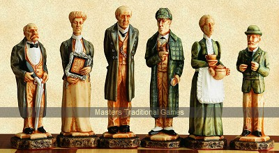 Sherlock Holmes Chess Set - hand decorated (without board)