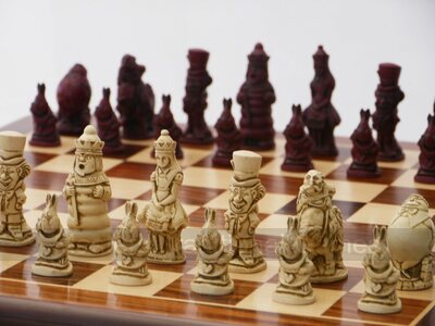 Berkeley Alice in Wonderland Ornamental Chess Set (cream & red, board not included)