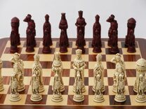 Berkeley Chess Camelot Ornamental Chess Set (cream & red, board not included)