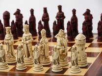 Camelot Ornamental Chess Set (cream & red, board not included)