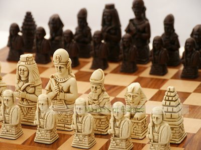Egyptian Ornamental Chess Set (cream & red, no board)