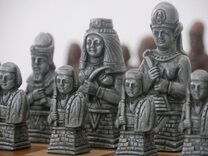 Berkeley Egyptian Chess Set (Steel & Copper finish, no board)