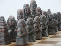 Ancient Egyptian Metallic Chess Set (Steel & Copper, no board)