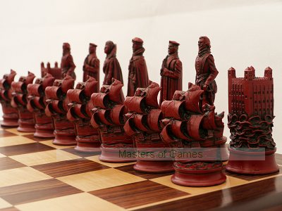 Elizabethan Ornamental Chess Set (cream & red, no board)