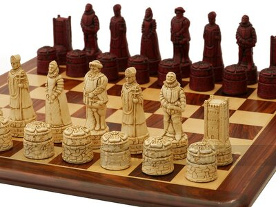 Berkeley Chess English History Ornamental Chess Set (cream & red, board not included)