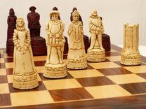 English History Ornamental Chess Set (cream & red, no board)