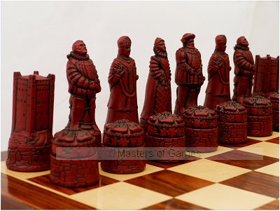 English Themed Ornamental Chess Set (cream & red, no board)