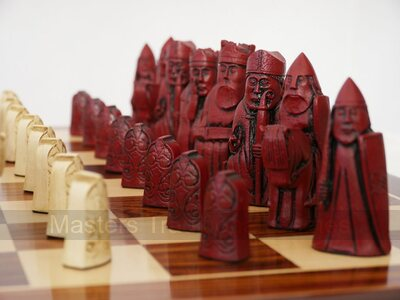 Isle of Lewis Chess Set (cream & red, board not included)
