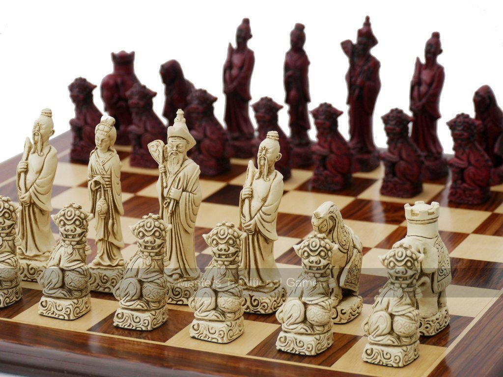 Berkeley Chess Mandarin Ornamental Chess Set (cream & red, board not  included)