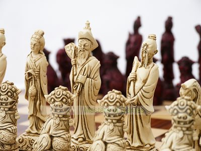 Mandarin Ornamental Chess Set (cream & red, no board)