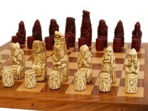 Berkeley Medieval Ornamental Chess Set (cream & red, board not included)
