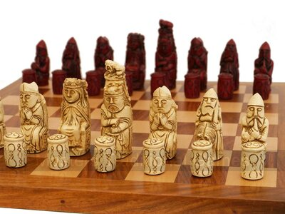 Medieval Ornamental Chess Pieces (cream & red, no board)