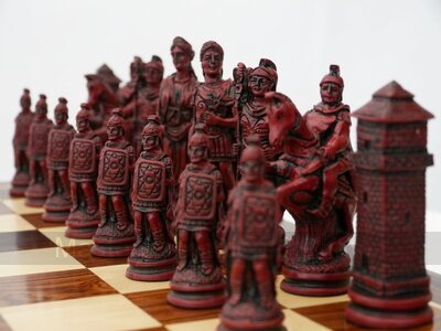 Roman Ornamental Chess Set (cream & red, board not included)
