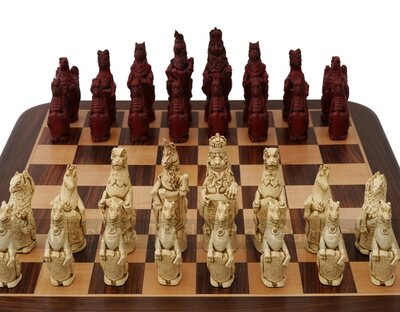 Berkeley Chess Royal Beasts Ornamental Chess Set (cream & red, board not included)