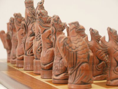 Berkeley Royal Beasts Chess (Steel & Copper finish, no board)