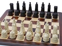 Scottish Themed Ornamental Chess Set (cream & red, no board)