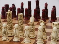 Berkeley Chess Victorian Ornamental Chess Set (cream & red, board not included)