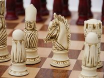 Victorian Ornamental Chess Set (cream & red, no board)