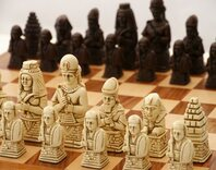 Berkeley Egyptian Ornamental Chess Set (cream & brown, board not included)