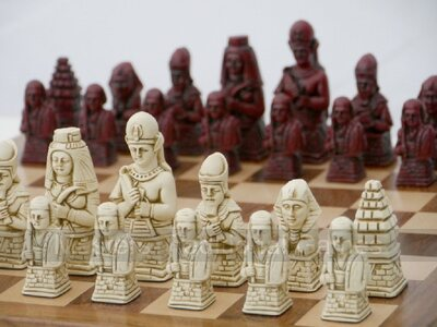 Ancient Egypt Chess Set by Berkeley Chess (cream & red, board not included)
