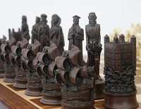 Berkeley Chess Elizabethan Ornamental Chess Set (cream & brown, board not included)