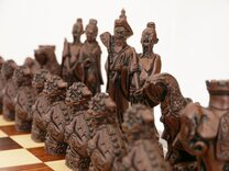 Berkeley Chess Mandarin Ornamental Chess Set (cream & brown, board not included)