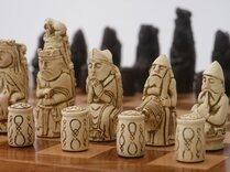 Berkeley Medieval ornamental Chess set (cream and brown pieces in plain box, board not included)