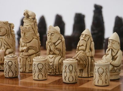 Medieval Themed Chess Set by Berkeley Chess (cream & brown, no board)