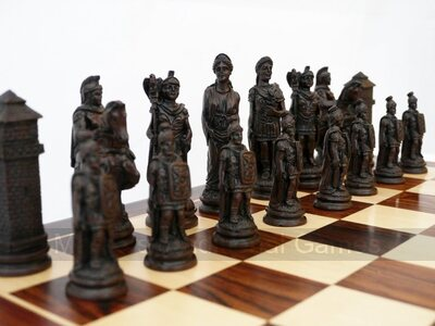 Berkeley Chess Roman Ornamental Chess Set (cream & brown, board not included)