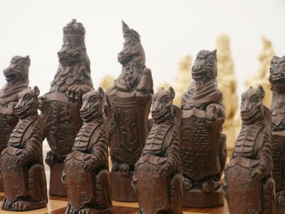 Berkeley Chess Royal Beasts Ornamental Chess Set (cream & brown, board not included)