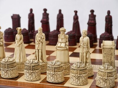 Berkeley Chess Scottish Themed Ornamental Chess Set (cream & red, board not included)