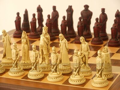 Berkeley Shakespeare Ornamental Chess Set (cream & red, board not included)