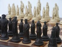 Shakespeare Ornamental Chess Set (cream&brown,no board)