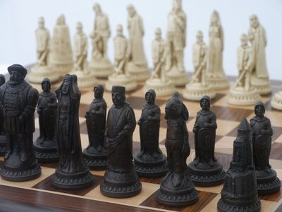 Berkeley Shakespeare Ornamental Chess Set (cream & brown, board not included)