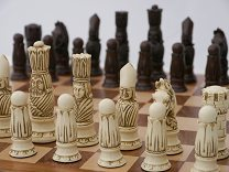 The Victorian Chess Set by Berkeley Chess (cream & brown, board not included)