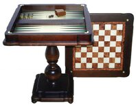 Italfama Beech Chess Table with Hand Inlaid Backgammon Board