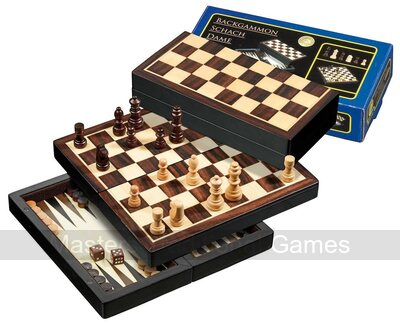 Philos Chess, Backgammon Draughts Travel Set (20cm)
