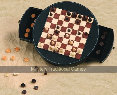 Magnetic Chess & Draughts Set - Leather Box