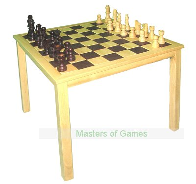Square wooden Chess Table with Chess pieces