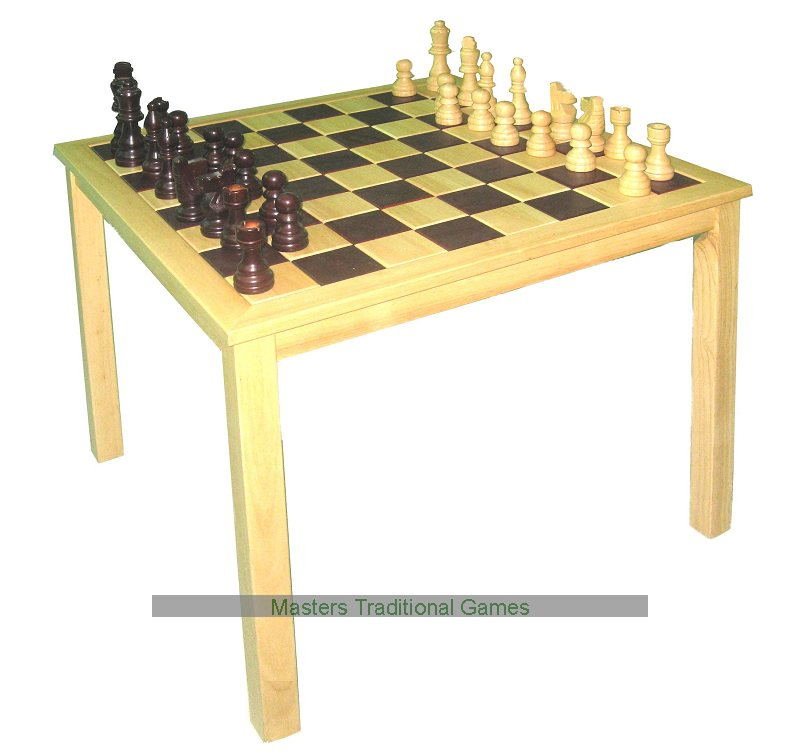 Square wooden chess table with chess pieces - Wooden chess tables ...