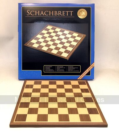 Philos 35cm walnut and maple chessboard with 40mm squares