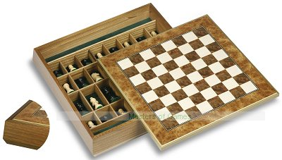 Dal Negro Chestnut Chess Cabinet with Briar-root Board