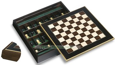 Dal Negro Chestnut Chess Cabinet with Ebony Board