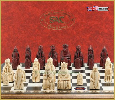 SAC Lewis Chessmen (without board) Ivory & Burgundy