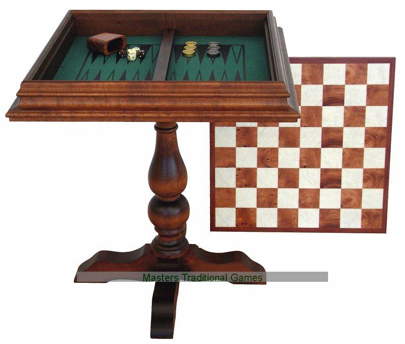 Italfama wooden chess table with velvet backgammon 59cm - Wooden chess tables ...