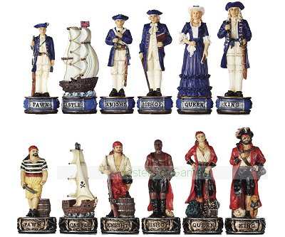 Italfama Pirates Chess Pieces - Resin, Hand-Painted
