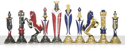 Italfama Renaissance Hand-Painted Metal Chess Pieces