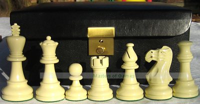Jester Chess set - Black/White in Black Leather Box (3.75 inch King, no board)