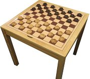 Square wooden Chess and Draughts Table with pieces